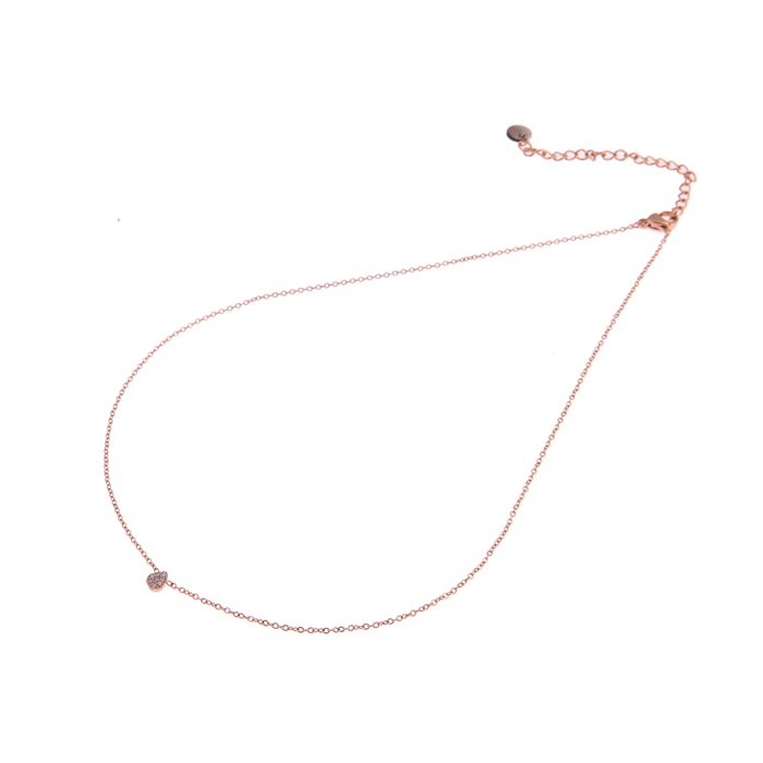 Go dutch label ketting zirkonia drop rosé N0438-3