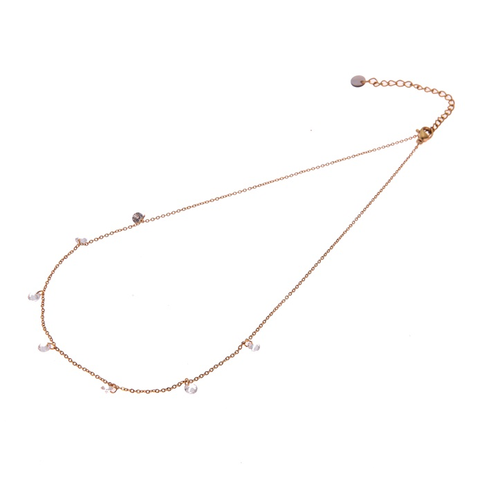 Go dutch label ketting zirkonias all over goud N0878-2