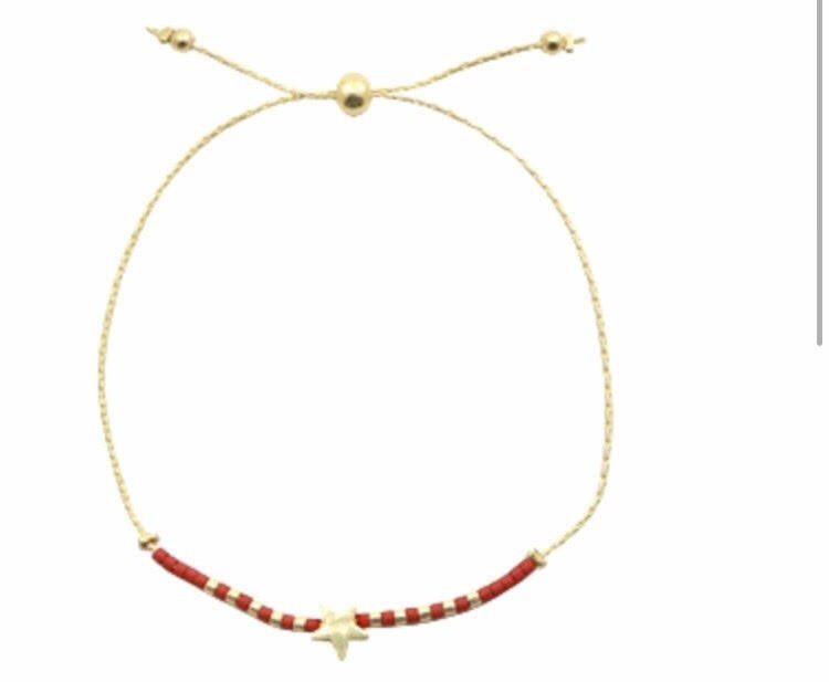 Bracelet with star - red-gold