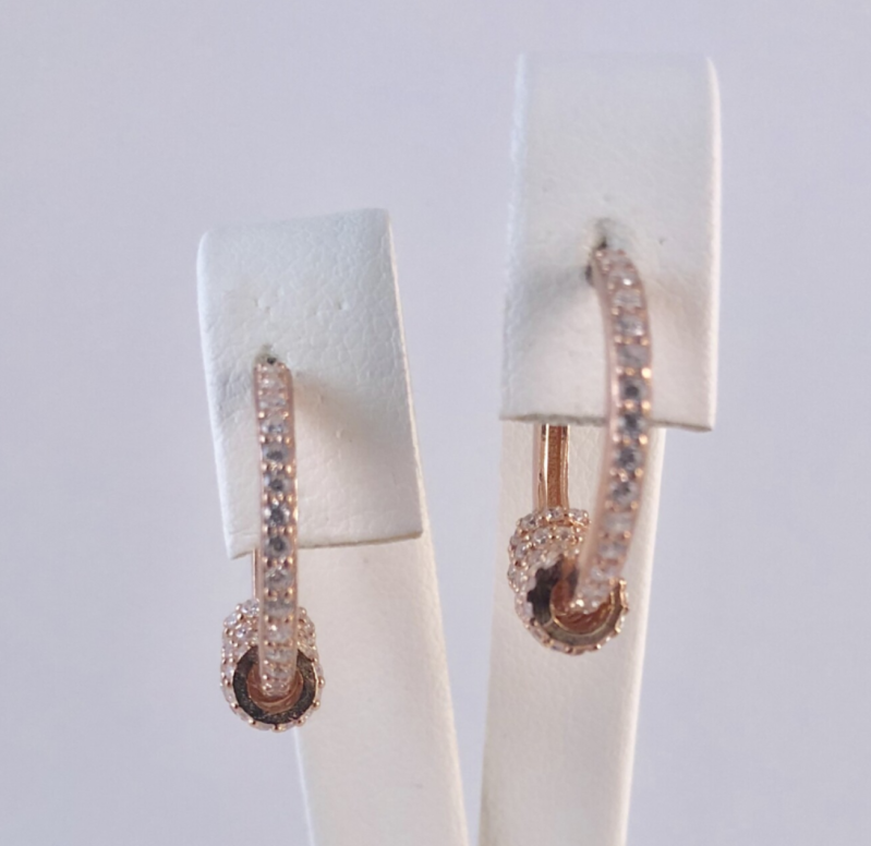 *Design oorring met strass, rosé