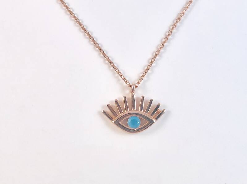 Turquoise oog ketting, rosé