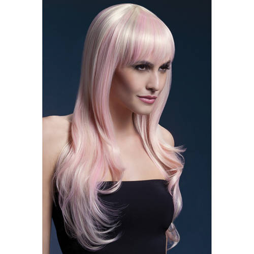 Fever lange blonde pruik met roze highlights