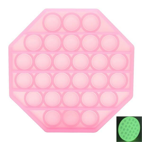 Pop it - Achthoek -  Glow in the Dark - Pink - 12.5cm
