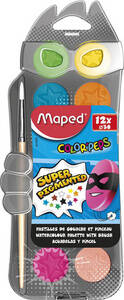 Color'peps Waterverf - Napjes 30 mm - Box - 12 + 1 penseel