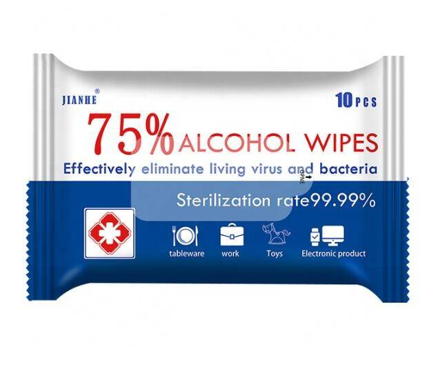 10 Sheets/Pack 75% Alcohol Wipes (Per 10 verpakt)