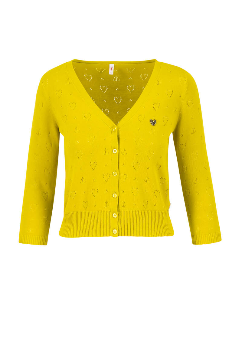 Logo cardigan v-neck 3/4arm - Yellow heart anchor