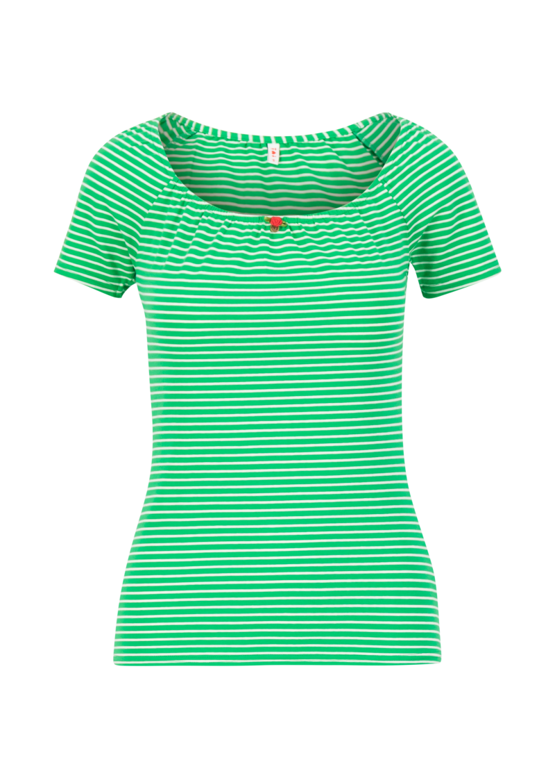 Logo stripe heart t-shirt - Green tiny stripe
