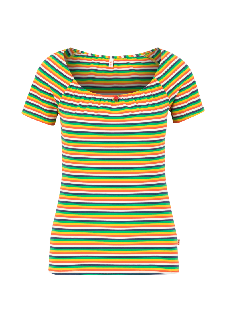 Logo stripe heart t-shirt - Rainbow tiny stripe