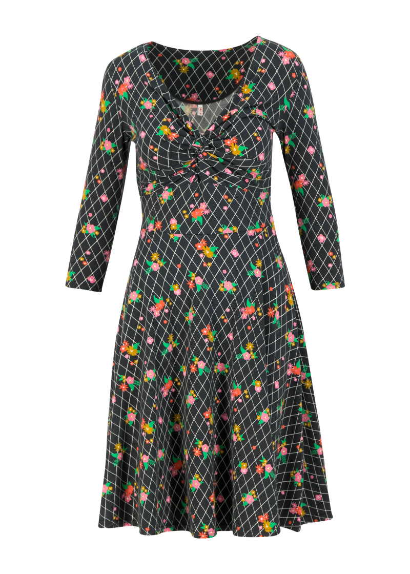 Hot knot robe 3/4 arm - Grid of flowers