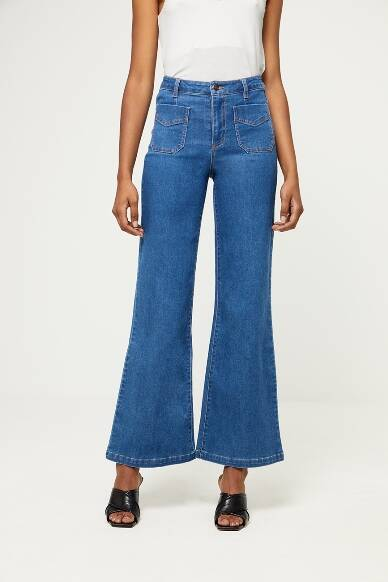 Wide trousers with frontpockets - Blue