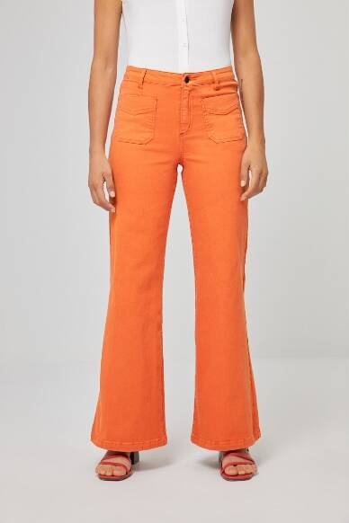 Wide trousers with front pockets - Orange