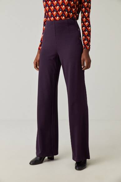 Palazzo trousers with side buttons- purple