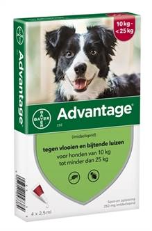 BAYER ADVANTAGE HOND 4 PIPETTEN 250 10-25 KG 4 PIP  ME384368