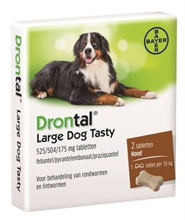 BAYER DRONTAL ONTWORMING HOND L TASTY 2 TABLETTEN  ME392303