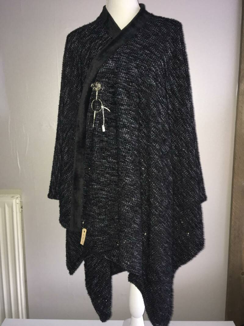 Omslagdoek Glitter Black Fur