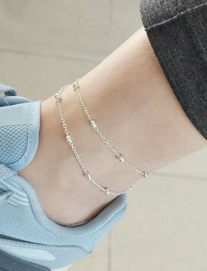 Silver Beaded Chain Anklet