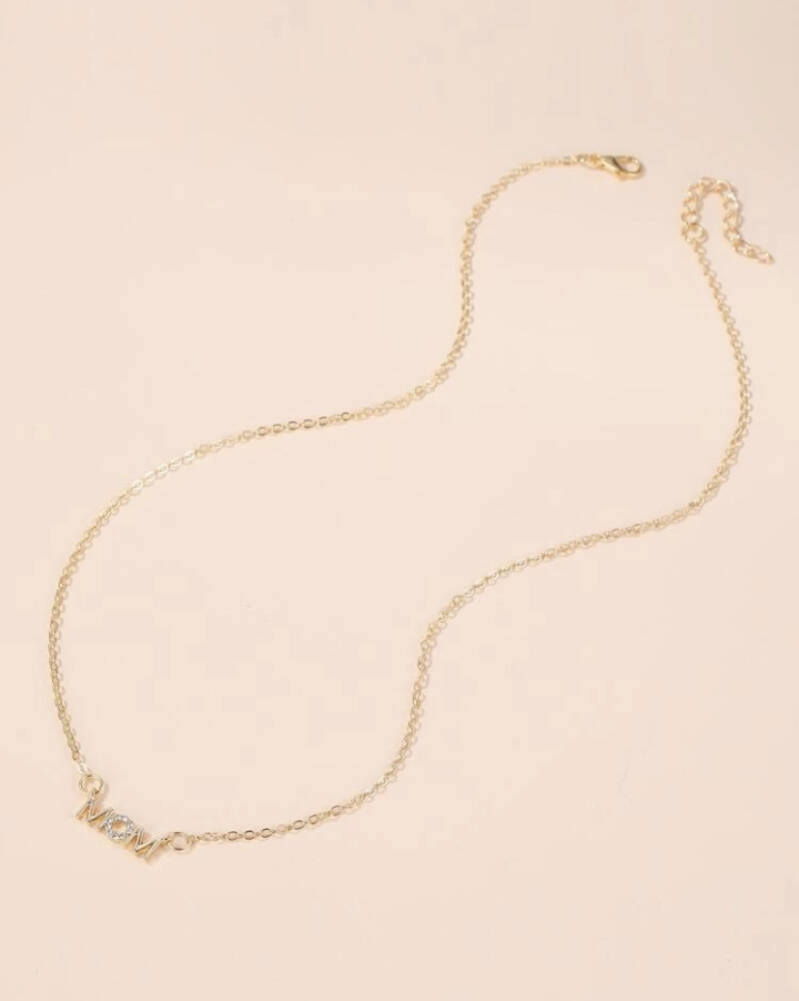 Mom Pendant Gold Necklace