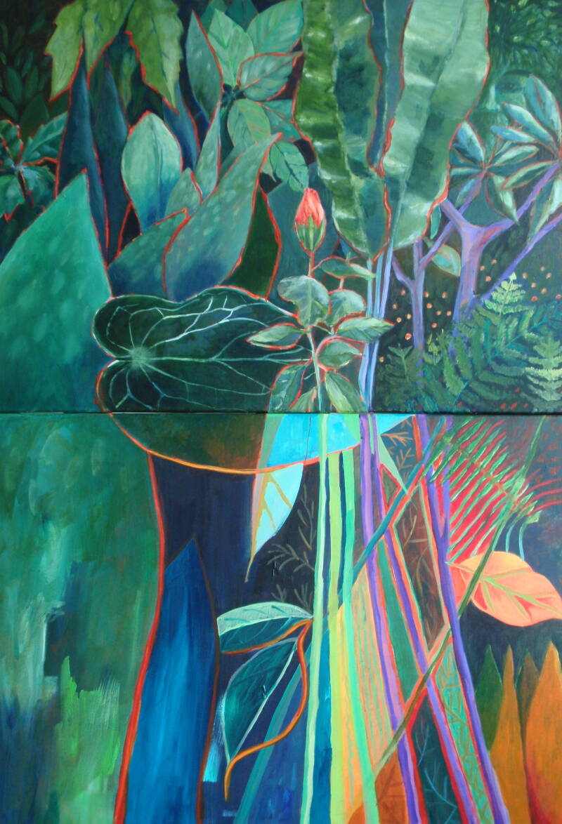 Vertical Diptych - Hortus Botanicus | Gemma Jonker | Botanical - Abstract Painting