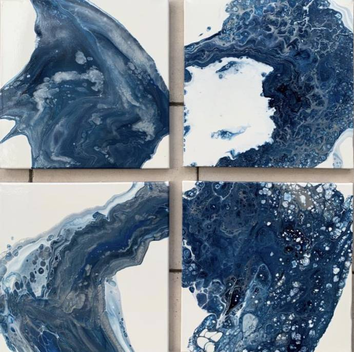 Blue captured in a square | Els Kampert | Acrylic on Canvas