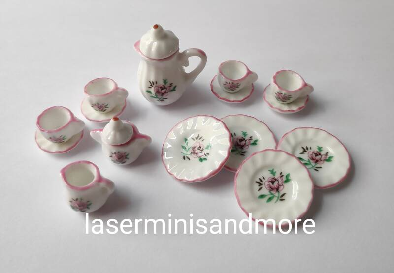 servies 1:12 roze roos