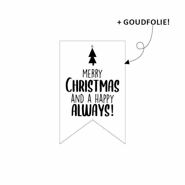 Sticker vaantje - Merry Christmas and a happy always - per 10