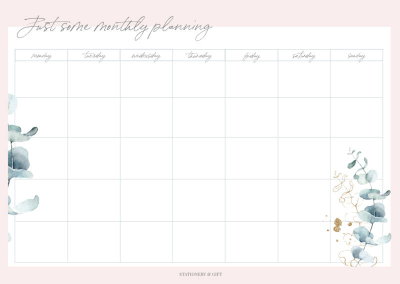 Monthly Planner | Pink & Green Collection