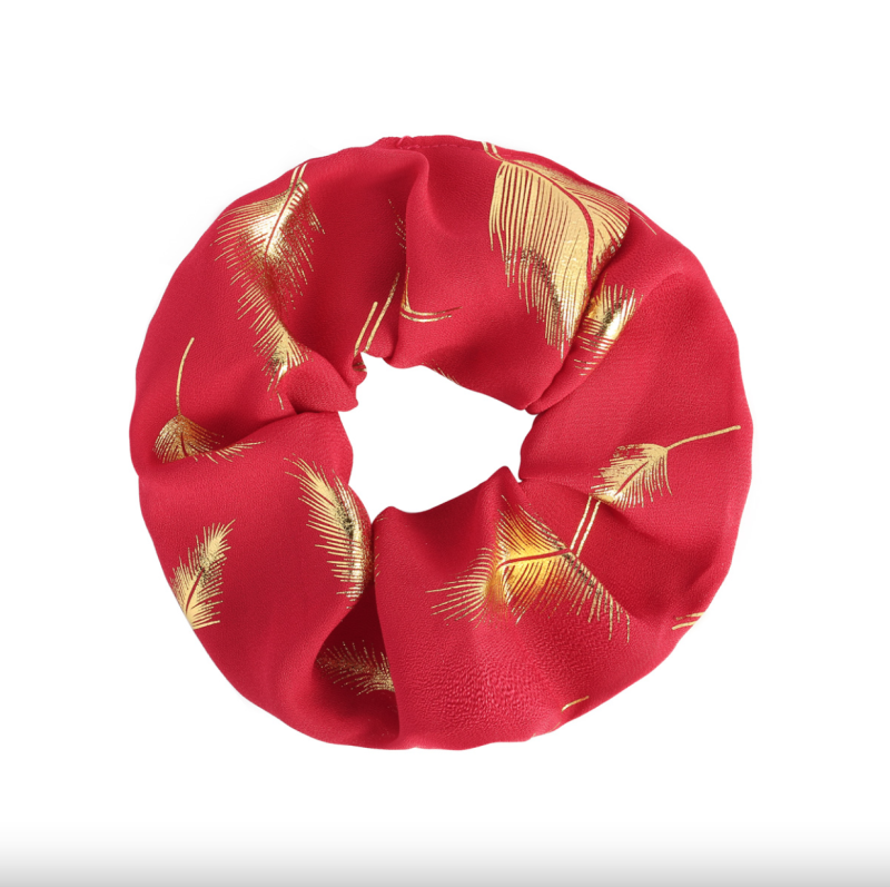 Scrunchie Golden Feather Rood