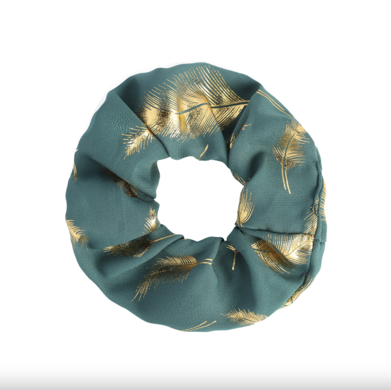Scrunchie Golden Feather Blauw