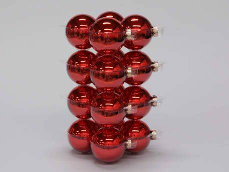Bauble 16pcs. Red Glossy 80mm