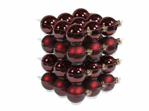 Bauble 36pcs. Dark Red Mix 57mm