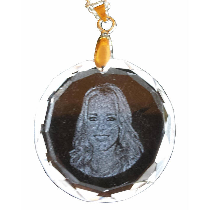 Crystal pendant round with facet (2D)