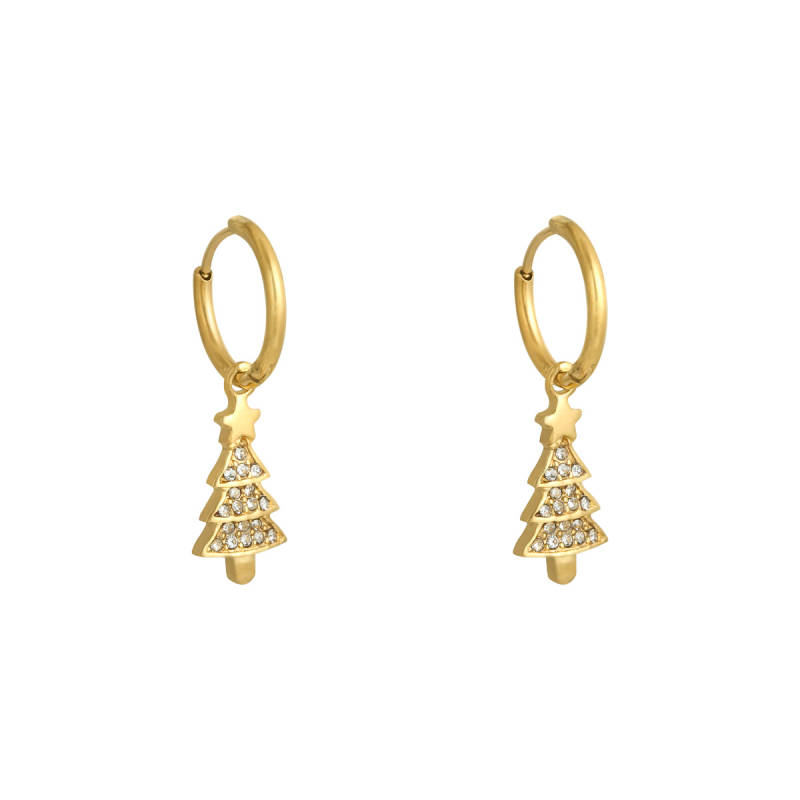 Christmas tree Earring Gold