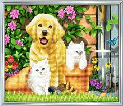 Crystal Art Cat and Dog friends 21x25cm incl stand