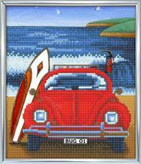 Crystal Art Beetle on the Beach 21x25cm incl stand