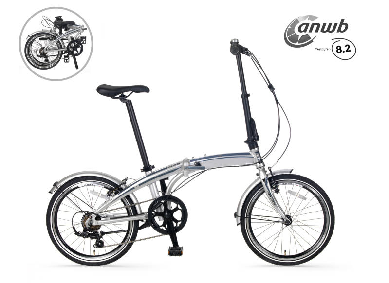 Popal Subway F209 vouwfiets ANWB test 8,2 zilver