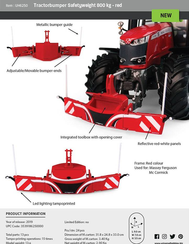 Tractor bumper Rood
