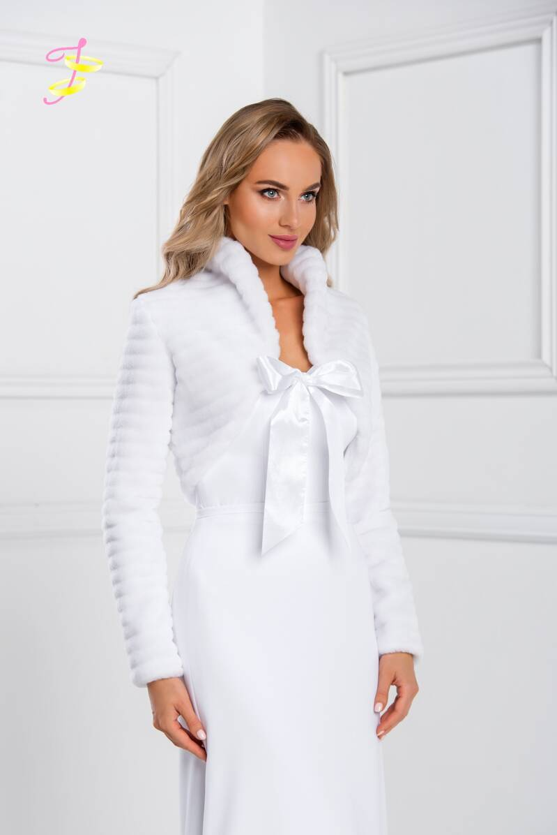 Warm wedding jacket of faux fur with bow B202