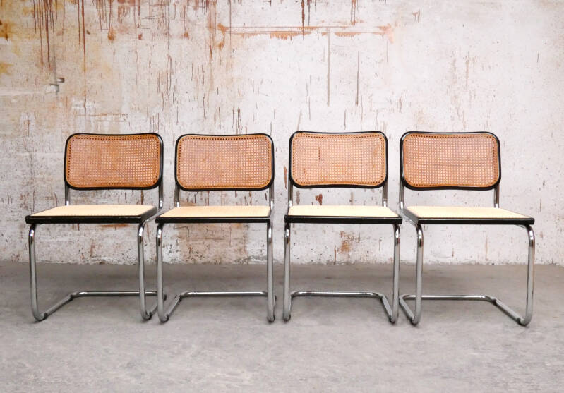 4 x Cesca chairs S32 by Marcel Breuer