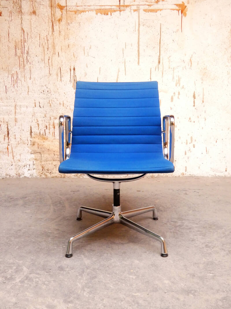 Eames EA 108 chairs in blue hopsak