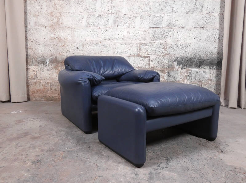 Cassina Maralunga 1-seater/fauteuil with ottoman