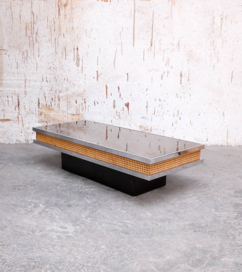 Chrome coffee table with mirrored top