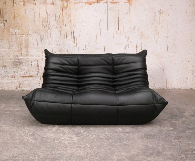 Ligne Roset Togo loveseat  in black leather