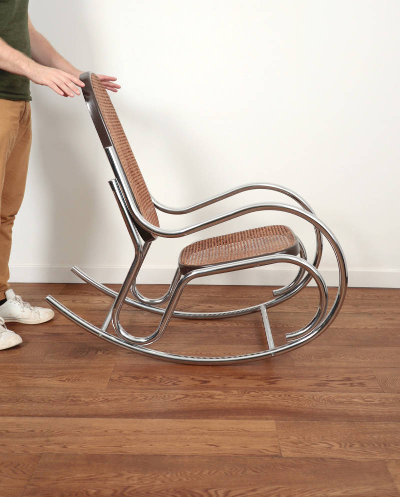 Chrome rocking chair 'Thonet' style