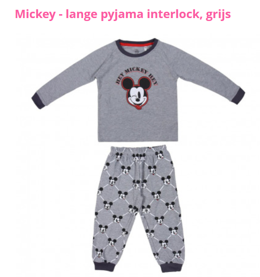Mickey - lange pyjama interlock, grijs / pyjama longue interloc gris