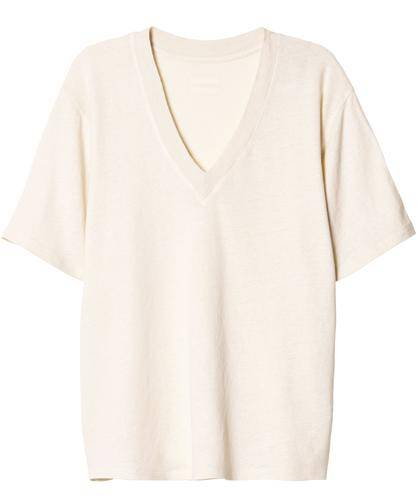 10days shirt ecru linnen v-neck