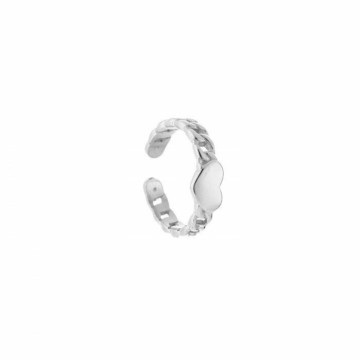 Ring chain heart silver