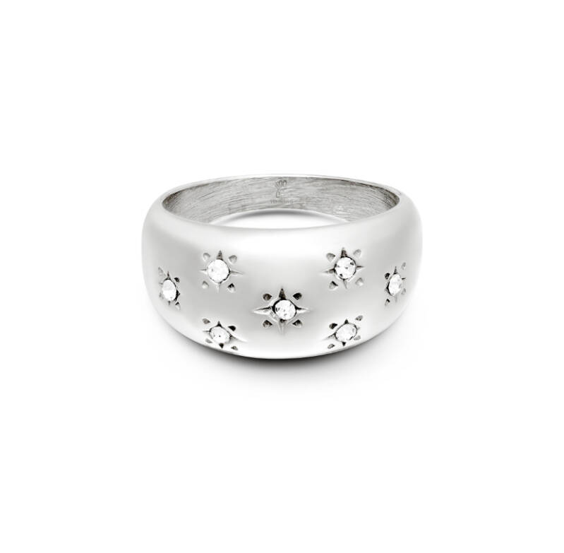 Ring diamand flowers silver