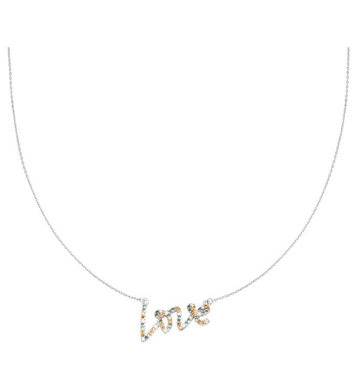 Ketting colorful love zilver