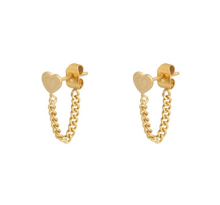 Oorbellen heart and chain goud