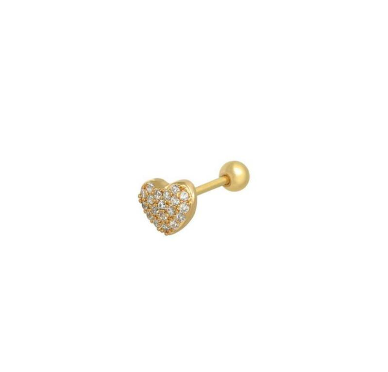 Oorpiercing heart goud